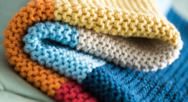Knitted blanket close up