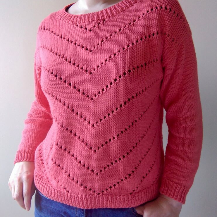 Finished cotton chevron jumper knit from Mode at Rowan pattern