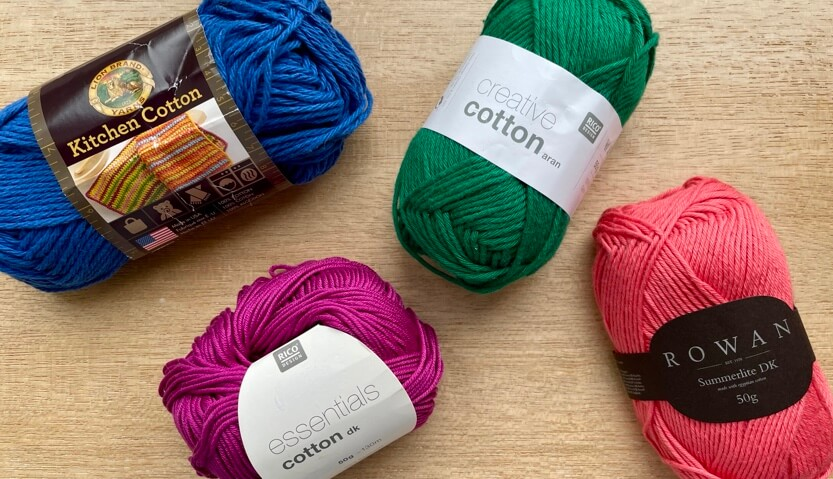 Assorted cotton yarn - glossy, matte, rough and smooth examples