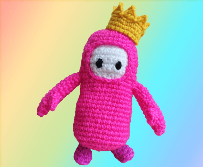 Fall Guy crochet character with crown