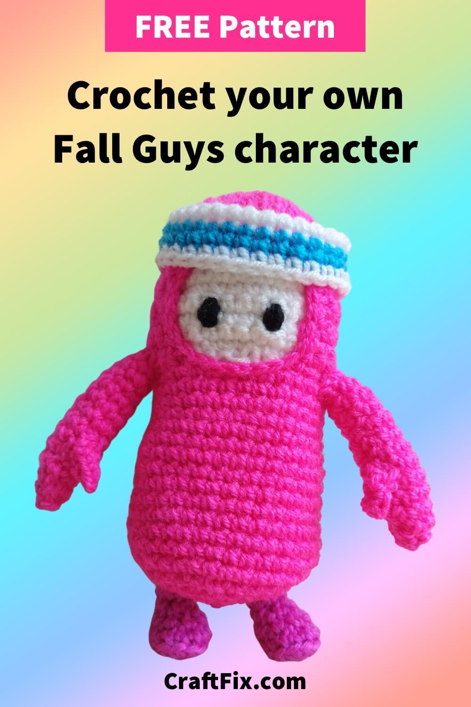 Fall Guys free crochet pattern pin image
