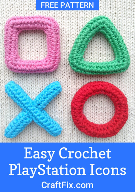 Crochet playstation icons pin