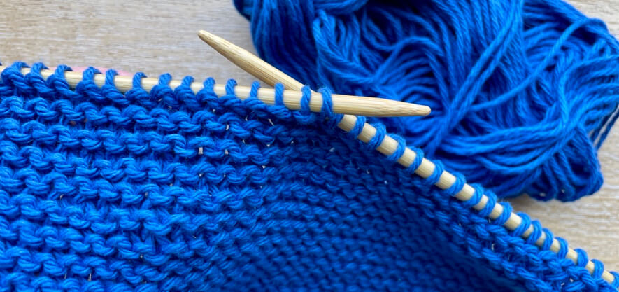 close up of knitting mid row