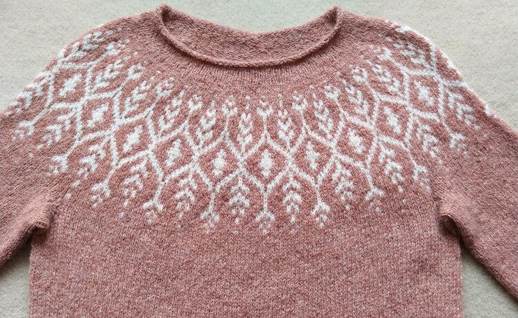 Sweater knit with fair-isle yoke