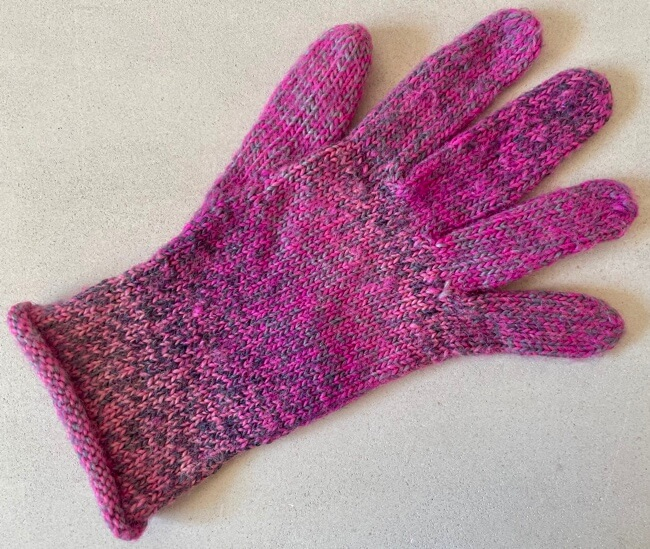 Finished handknit glove with body knit on circular needle and fingers with DPNs