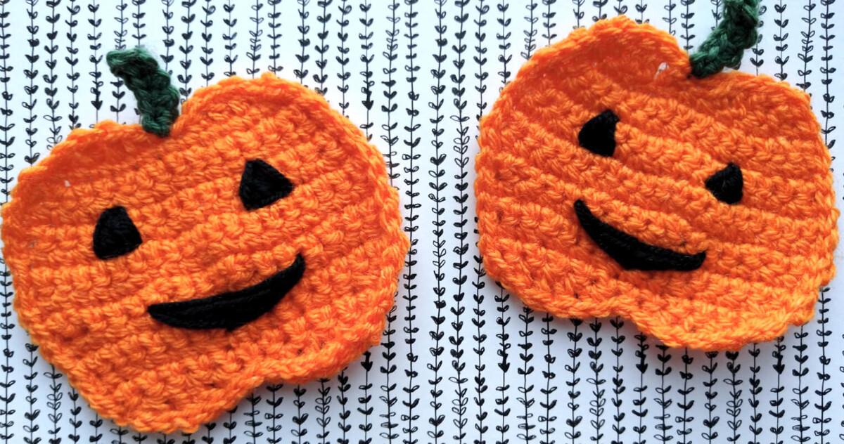 Halloween pumpkins crochet applique