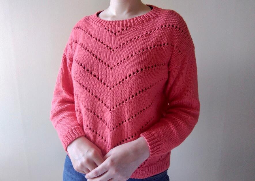 MODE at Rowan chevron jumper knit in coral blush Summerlite DK