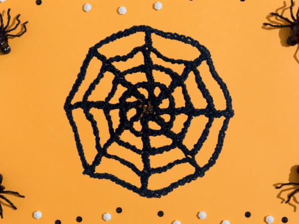 crochet spider web banner