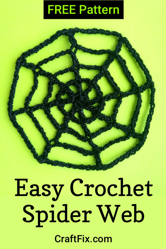 Crochet spider web pattern pin