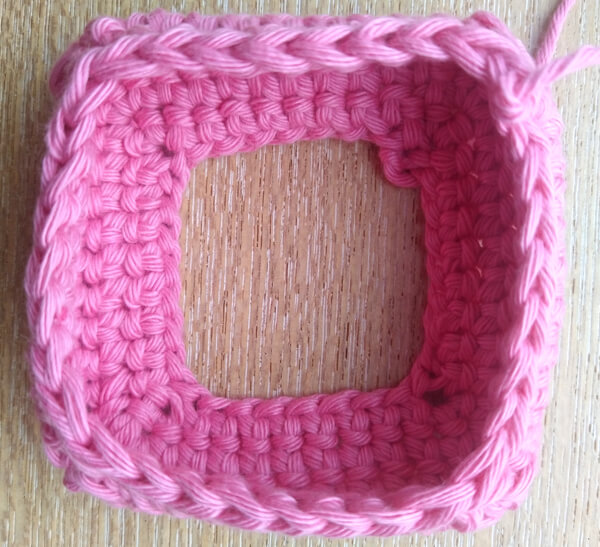 Square crochet piece before stitching