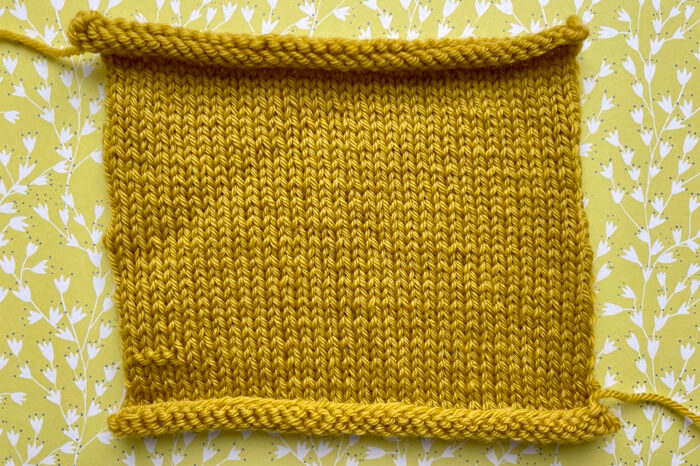 Example of a knitted test swatch