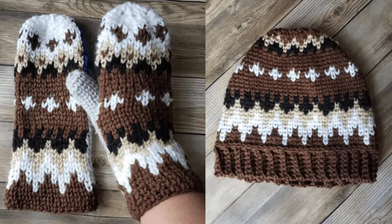 Matching Bernie style crochet mittens and beanie hat by Traverse Bay Crochet
