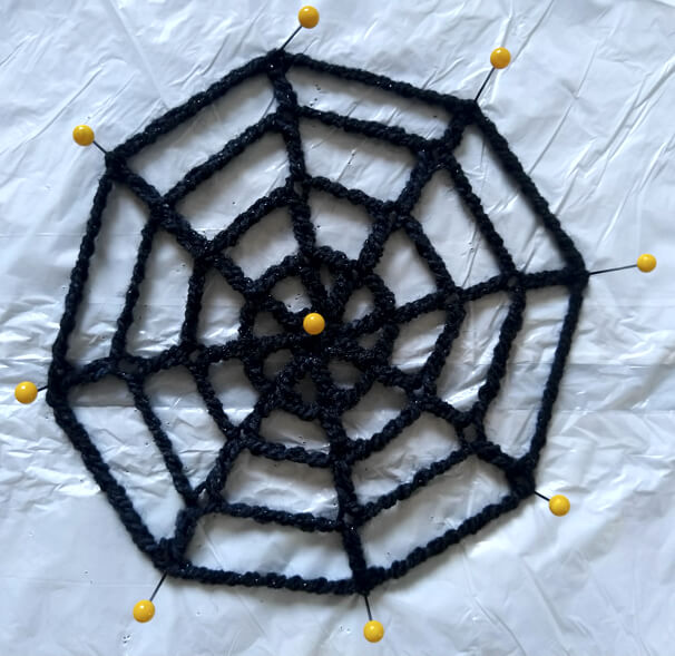 Spider web with end points pinned