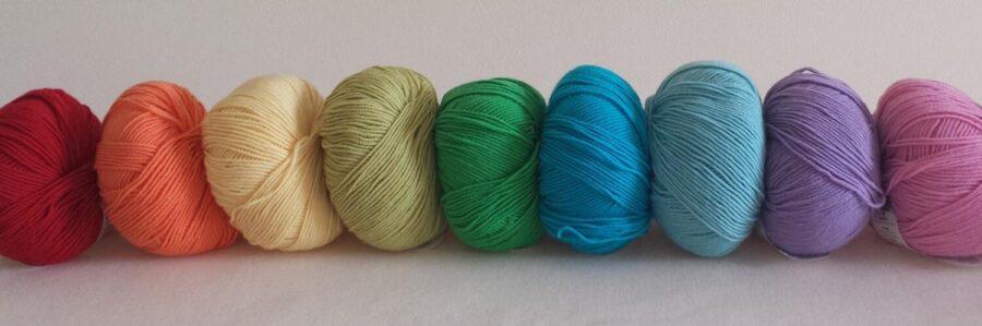 Rainbow of wool shades