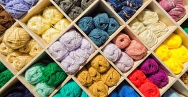 Assorted yarns in shop