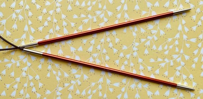 Aluminium metal needle tips on KnitPro zing 2.75mm fixed circular knitting needle